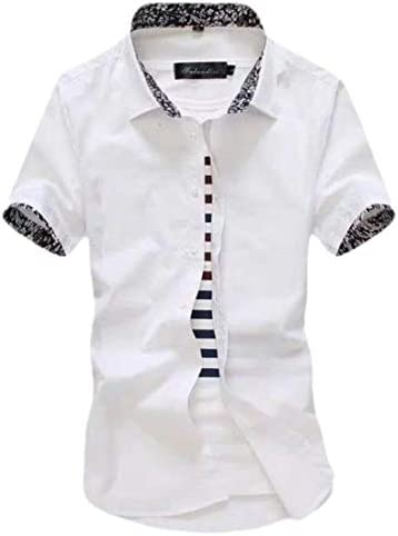 Mens Casual Slim Fit Short Sleeve Button Down Shirt Dress Shirts