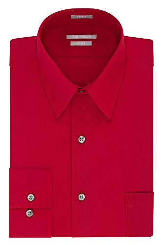 Van Heusen Men's Dress Shirt Fitted Poplin Solid, Flame, 14.5
