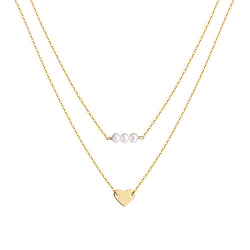 S.J JEWELRY Fremttly Womens Simple Delicate Handmade 14K Gold Filled/Rose Gold/Silver Simple Delicate Heart and Bar Chokers Necklace for Mothers Day-CK6-Pearl Heart