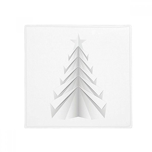 White Abstract Christmas Tree Origami Anti-slip Floor Pet Mat Square Home Kitchen Door 80cm - Origami 80