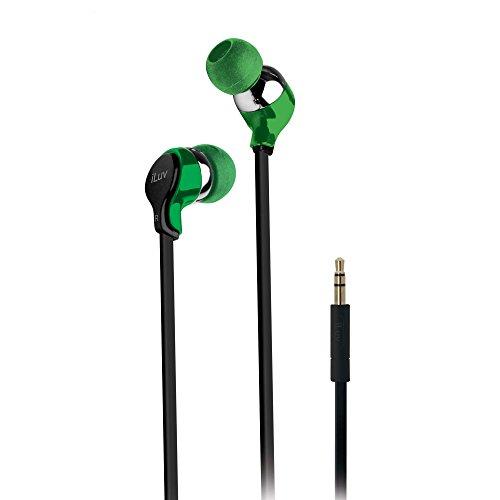 iLuv iEP314GRN Ergonomic and Comfort Flat-Wire Earphones - Green