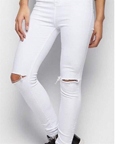 Bolsillos De Con Media Y Ocasionales Blanco Rotos Lápiz Pantalones Biran Mezclilla Cintura Vaqueros Bastante Escotados 5wHq7wPAx