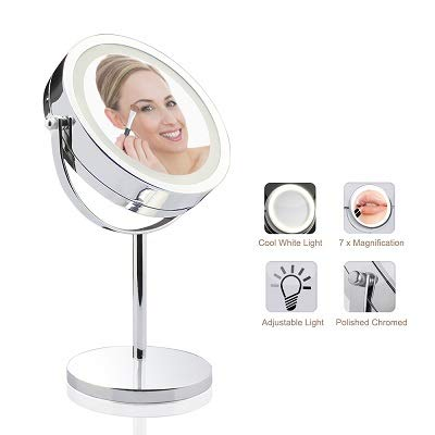 Lighted Vanity Mirror - 7 LED Makeup Mirror 7x Magnification Makeup Mirror Touch Screen Adjustable Light, Vanity Mirror Polished Chrome BaseMirror MIRRORMORE D710T