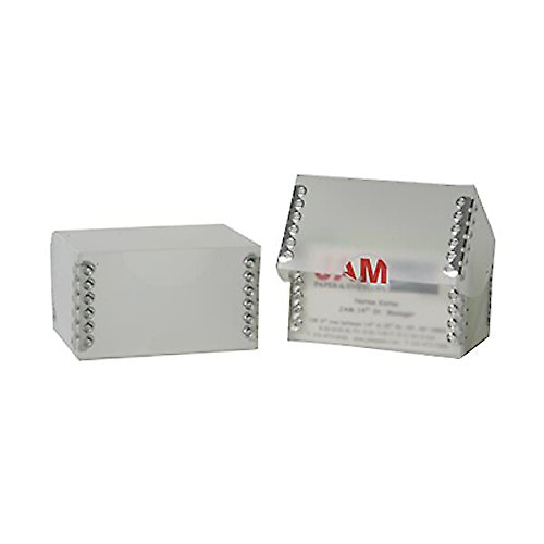 JAM PAPER Desktop Business Card Box - Clear Frost with Metal Edge - Sold Individually
