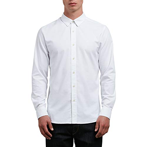 Volcom Men's Oxford Stretch Long Sleeve Button Up Shirt, White, Medium