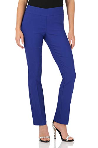 Rekucci Women's Ease in to Comfort Straight Leg Pant with Tummy Control (16,Sapphire) ()