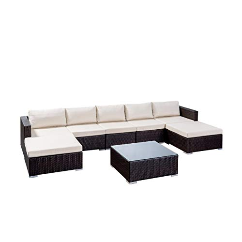 Great Deal Furniture 304752 Tom Rosa Outdoor 5 Seater Wicker Sectional Sofa Set, Multibrown with Beige Cushions