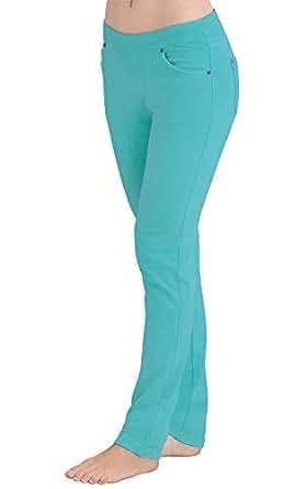 PajamaJeans Women's Skinny Stretch Knit Denim Jeans, Aqua, Large / 12-14