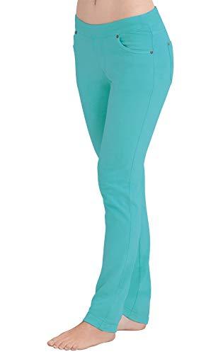 PajamaJeans Women's Skinny Stretch Knit Denim Jeans, Aqua, 2X / 20-22W ()