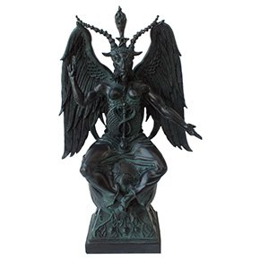 Large Baphomet On Pedestal in Faux Stone Finish Statue by Pacfic Trading (Pedestal White Stone)