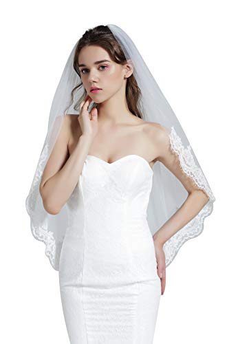 - Wedding Bridal Veil with Comb 1 Tier Eyelash Lace Trim Applique Edge Fingertip Length 37