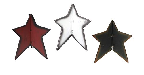 OBI Wooden Tabletop Star Decor Set of 3 - Small, Foldable 3-Dimensional Tri-Stars - Country Primitive Americana Home Decoration - Red, White, and Black