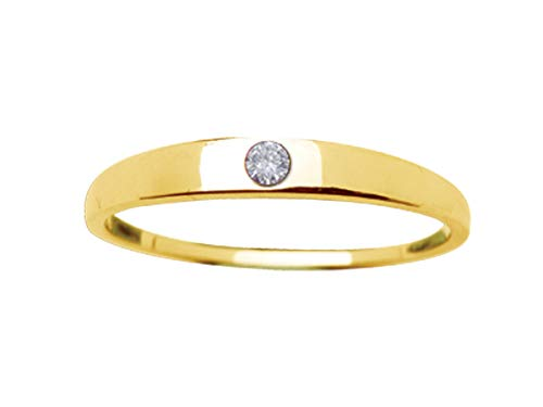 Gold-Plated Band Baby Ring with Clear CZ (Size 4) (Gold Pinky Ring Size 4)
