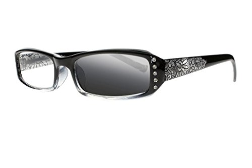 Transition UV400 Sunglasses Photochromic Women Diamonds Flowers Prints Reading Glasses Readers (Black, 3.5)