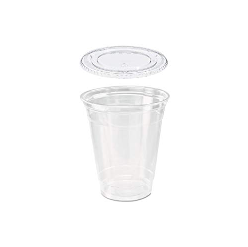 Pack of 25 Clear Plastic Snack Cup / Parfait Cup 12 oz with Flat Lid w/Signature Party Picks