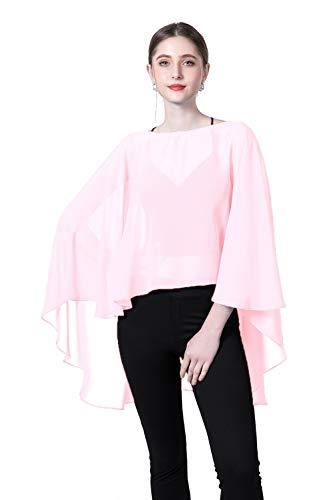 (Wedding Capes Womens Soft Chiffon Shrug Bridal Long Shawl and Wraps (Pink3))