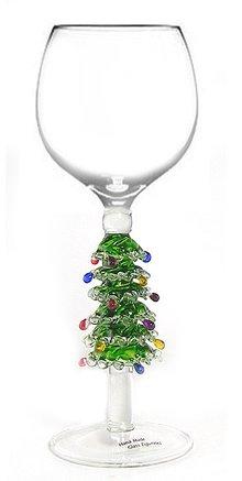 Green Christmas Tree Wine Glass by Yurana Designs - Hand Blown W221 (Stem Hand)