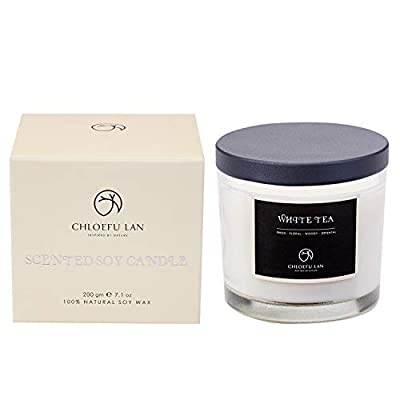 CHLOEFU LAN Scented Soy Jar Candle Highly Scented & Long Lasting & Slow Burning(7 Oz, 45h) with Transparent Glass and Black Cover