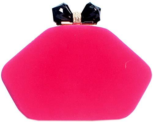 Wedding Rhinestone Handbags Purse Evening Lips Velvet Party Bettyhome Rose Bag Women Clutches xqgwE8nHR