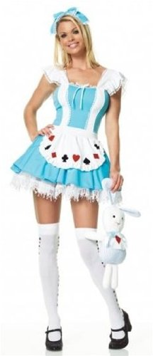 Leg Avenue Women's Alice In Wonder Place Costume, Blue, (Alice In Wonderland Halloween Costumes For Teens)