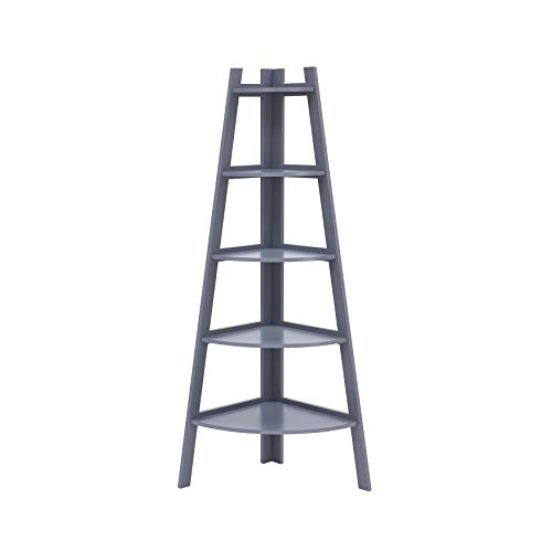 Danya B Decorative 5-Tier A-Frame Corner Ladder Bookcase –