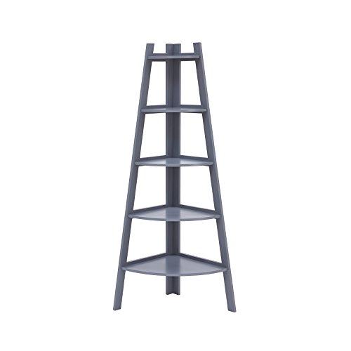 Danya B. BQ0279GR Decorative 5-Tier A-Frame Corner Ladder Bookcase - Standing Open 5-Shelf Unit - Gray Finish