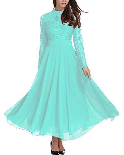 Aofur Women's Long Sleeve Chiffon Maxi Dresses Casual Floral Lace Evening Cocktail Party Long Dress (XXXX-Large, Light Blue)