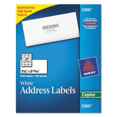 Avery Copier Mailing Labels, 1 1/2 x 2 13/16, White, 2100/Box