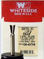 Whiteside Router Bits D8-437x8 Dovetail Bit with 7/16-Inch Large Diameter, 5/8-Inch Cutting Diameter and 8mm Shank