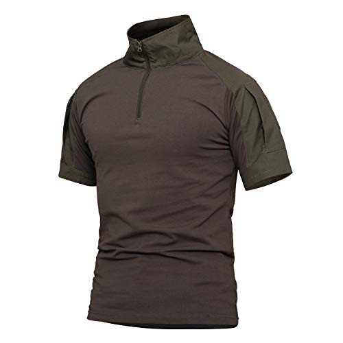 NEW VIEW Men's Tactical Combat Shirt Short Sleeve with Zipper Military Camo Shirt (11, US S=Tag L)