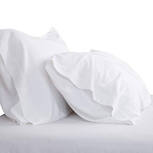 Bedsure Cooling Bamboo Pillowcases Set of 2 - White Breathable Cool Ultra Soft Pillow Cases - Viscose from Bamboo - Organic Natural Silky Material, Moisture Wicking(White, King Size 20x40 inches)