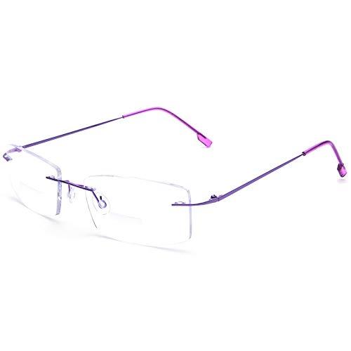 - Flexible Titanium Rimless Frame Bifocal Reading Glasses +1.50 Women Men Lightweight Readers