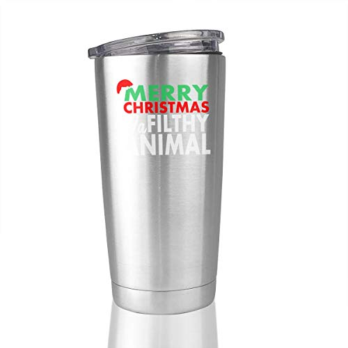 20oz Stainless Steel Tumbler Merry Christmas Ya Filthy Animal Vacuum Insulated Travel Mug Novelty