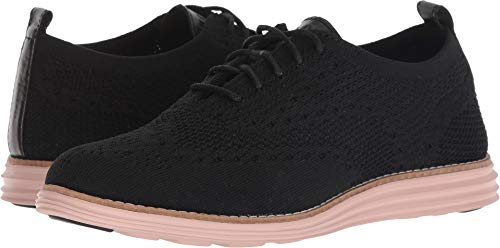 Cole Haan Women's Original Grand Stitchlite Wing Oxford, Black Knit/Black Leather/Misty, 9 B US