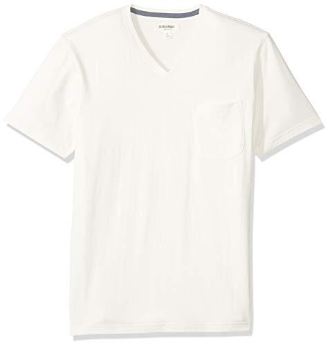 Goodthreads Men's Short-Sleeve Sueded Jersey V-Neck Pocket T-Shirt, White, Large -
