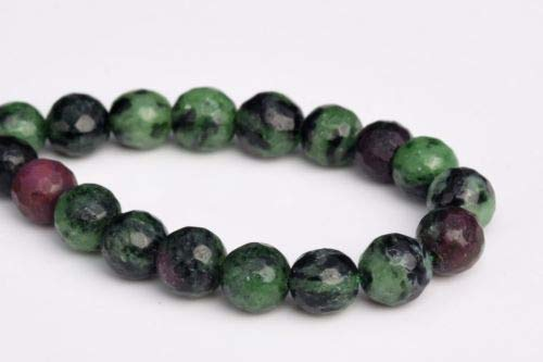 (6mm Genuine Natural Ruby Zoisite Grade Micro Faceted Round Loose Beads 7.5'' Crafting Key Chain Bracelet Necklace Jewelry Accessories Pendants)
