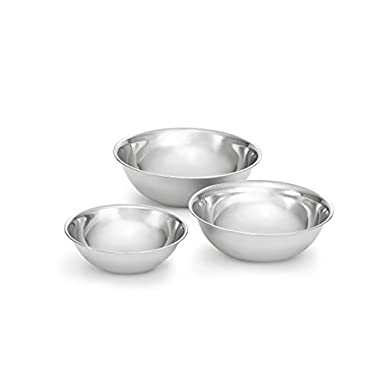 Artisan 3-Piece Nesting Stainless Steel Mixing Bowl Set with 3, 5, and 8-Quart Capacities