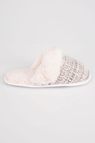 Wide Fit Women's Grey & Sparkle Knitted Mule Slipper With Faux Fur Cuff, Size 5 Pink