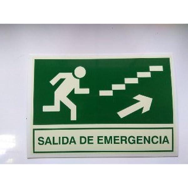 Cartel PVC Fotoluminiscente Salida Emergencia Escalera Arriba Derecha 30x21: Amazon.es: Industria, empresas y ciencia
