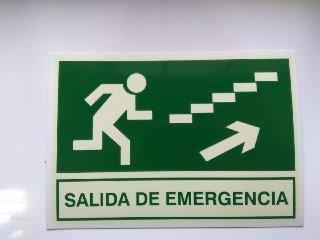 Cartel PVC Fotoluminiscente Salida Emergencia Escalera ...