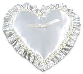 White Satin Heart Shape Ring Bearer Pillow