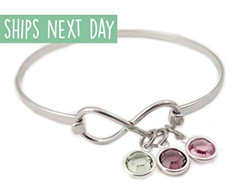 Infinity Birthstone Bangle Bracelet - Personalized Mother Jewelry - Charm Bracelet - 1017