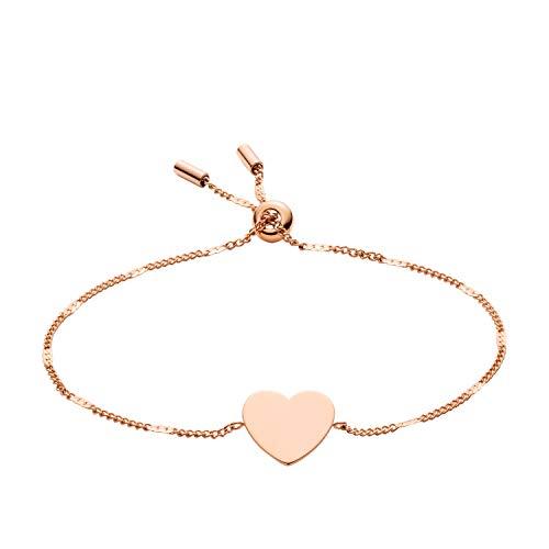 Fossil Heart Bracelet - Fossil Women's Heart Rose Gold-Tone Steel Bracelet, One Size