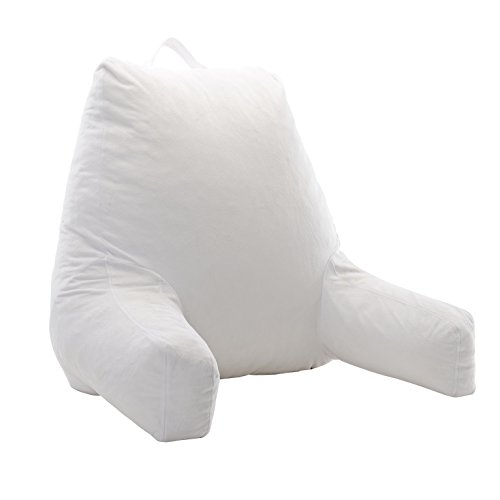 Cheer Collection Foam-Filled TV and Reading Pillow in White with Removable Microplush Washable Cover