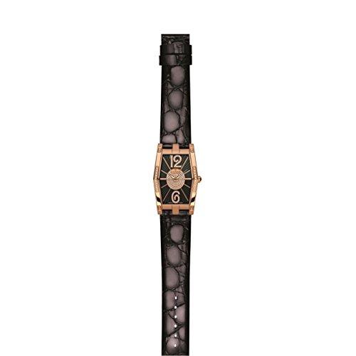 Charmex Nizza 6077 28.5x38.5mm Diamonds Stainless Steel Case Black Calfskin Synthetic Sapphire Women's Watch