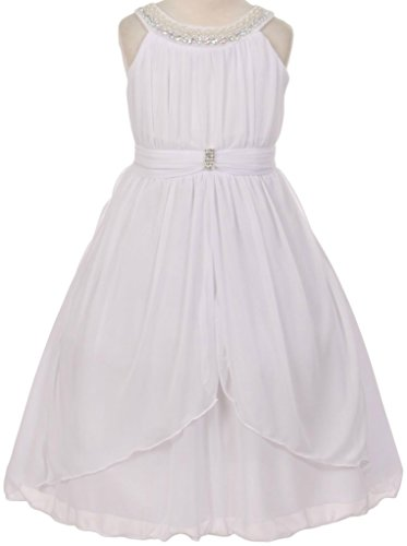 Price comparison product image Flower Girl Beaded Neck Trim Chiffon Special Occasion Dress for Big Girl White 12 20.73