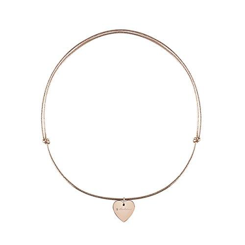 Ras du cou minimaliste Pop avec pendentif à cœur en or rose 9K et câble cuir rose
