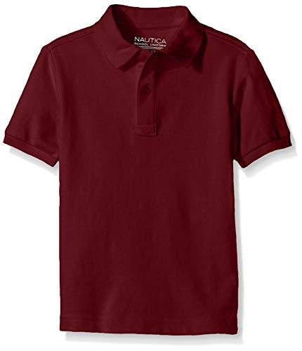 Nautica Big Boys' Uniform Short Sleeve Pique Polo, Burgundy, Medium/10/12