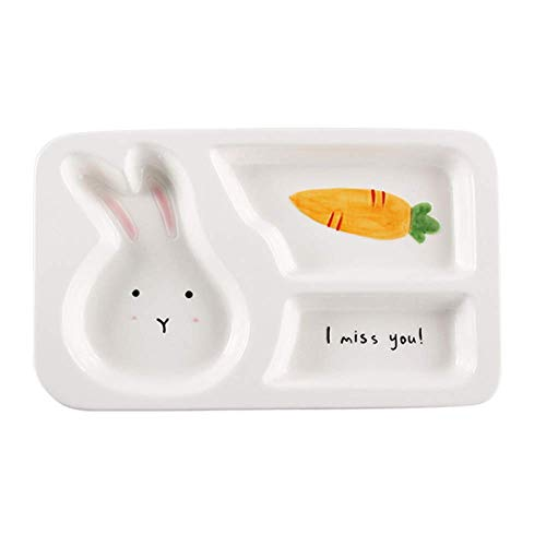 XQJDD Creative cartoon tableware children baby grid plate cute animal ceramic breakfast plate separation plate household plate rabbit 27.5x16.5x3cm