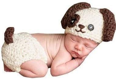 c29360838 Memorz Newborn Infant Girl Boy Crochet Knit Costume Dog Photo Outfits  Clothes Cap Prop (Beige Dog)
